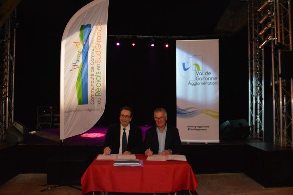 Signature charte de coopération Val de Garonne Agglomération et Communes du Réolais en Sud Gironde